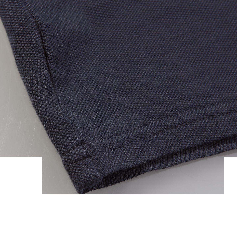 Fedeli Navy Cotton Pique Shirt Edge