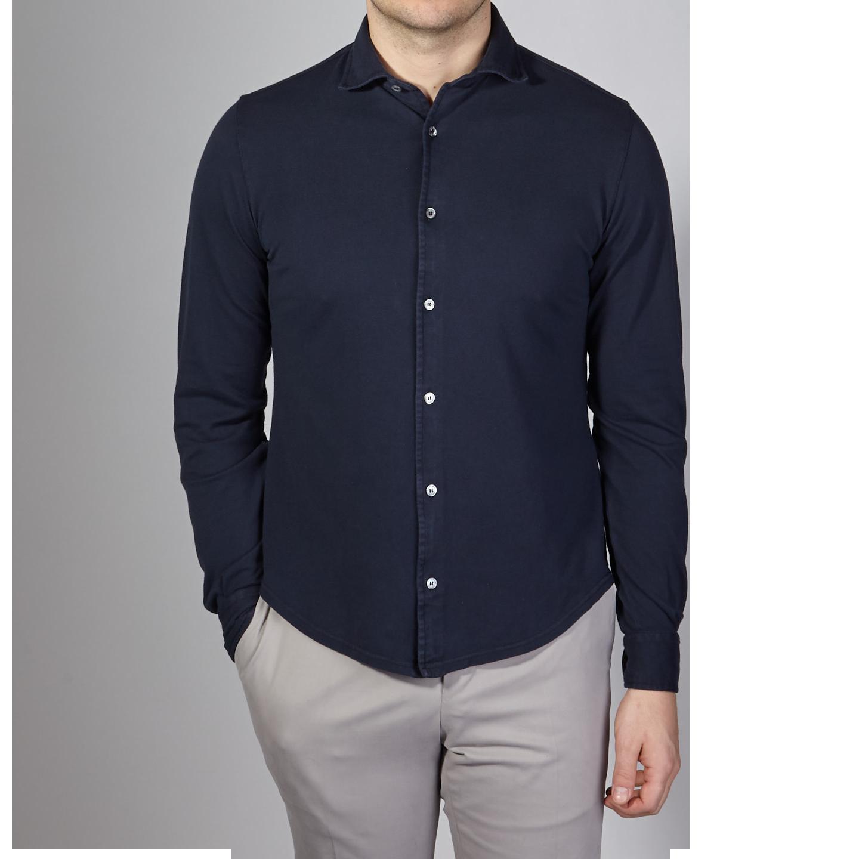 Fedeli Navy Cotton Pique Shirt Front