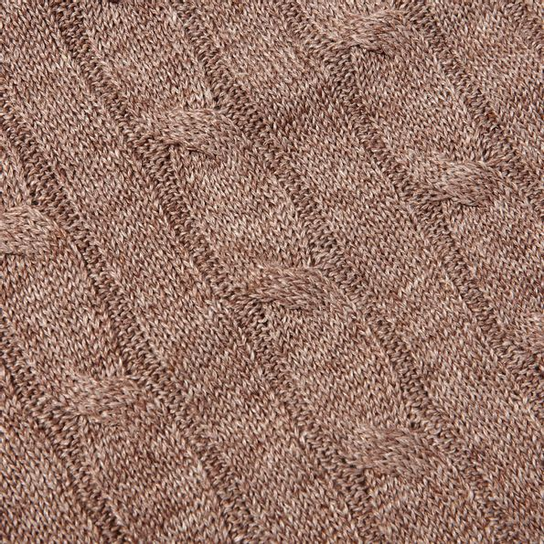 Gran Sasso Brown Taupe Pure Linen Crewneck Sweater Fabric