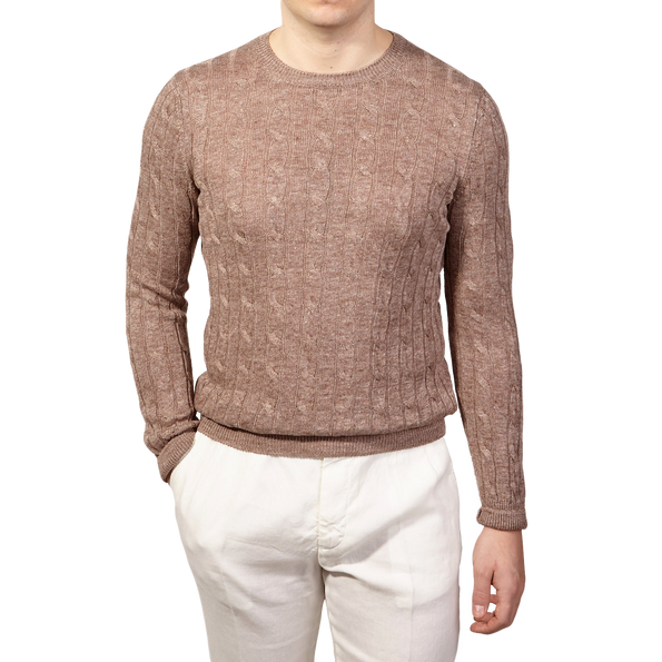 Gran Sasso Brown Taupe Pure Linen Crewneck Sweater Front