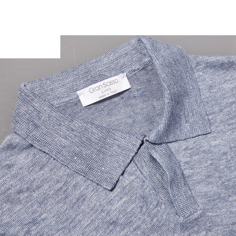 Gran Sasso Light Blue Linen Short Sleeve Polo Collar