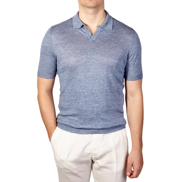 Gran Sasso Light Blue Linen Short Sleeve Polo Front