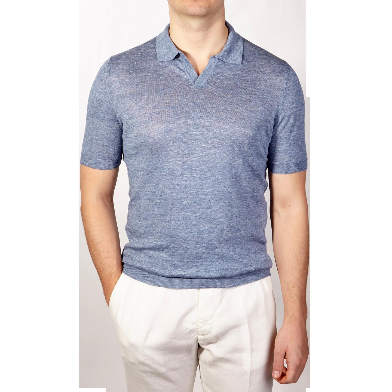 Gran Sasso Light Blue Linen Short Sleeve Polo Front