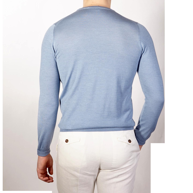 Gran Sasso Light Blue Wool Silk Crewneck Sweater Back