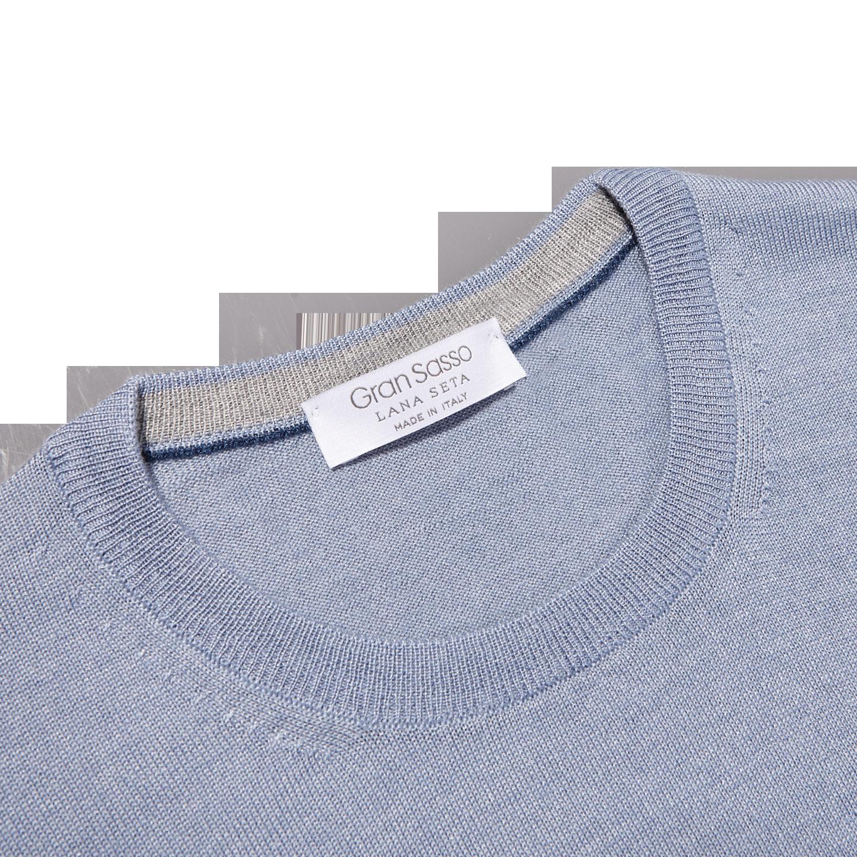 Gran Sasso Light Blue Wool Silk Crewneck Sweater Collar