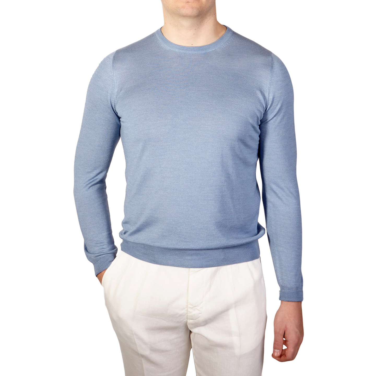 e2710aa35bc Gran Sasso Light Blue Wool Silk Crewneck Sweater Front