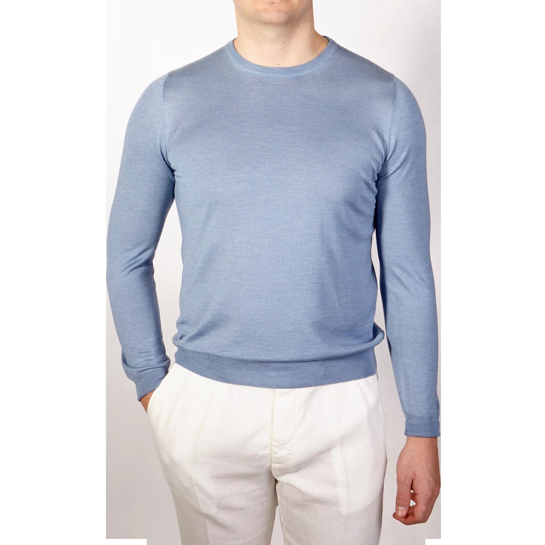 Gran Sasso Light Blue Wool Silk Crewneck Sweater Front