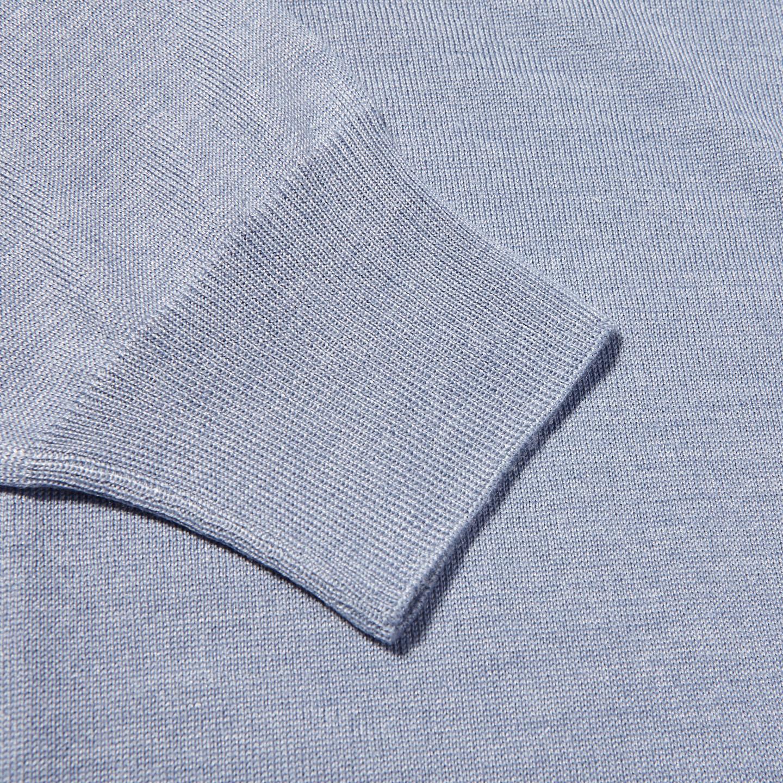 Gran Sasso Light Blue Wool Silk Crewneck Sweater Cuff