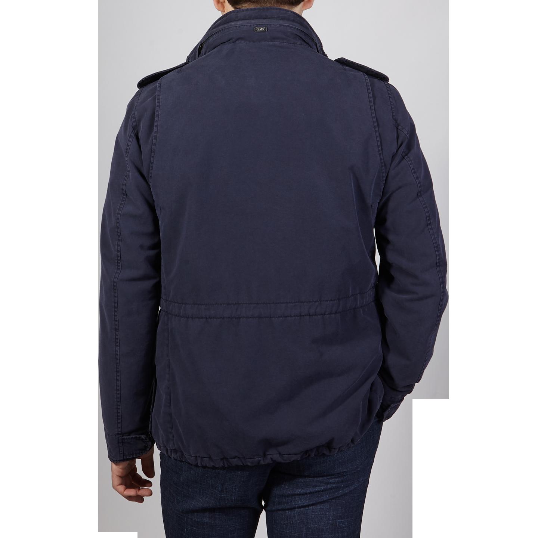 Herno Navy Washed Cotton Bogart Field Jacket Back