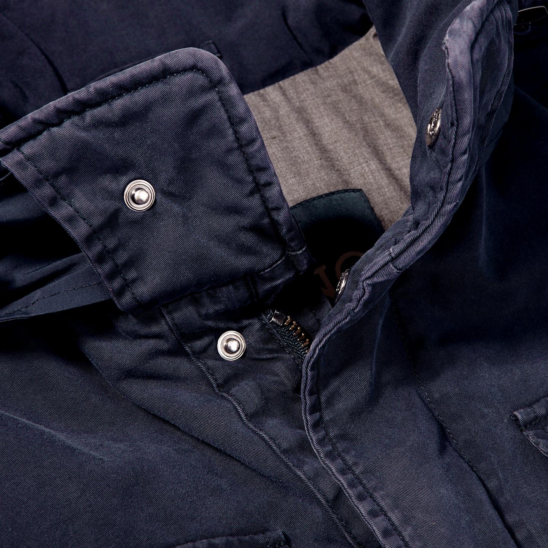 Herno Navy Washed Cotton Bogart Field Jacket Collar