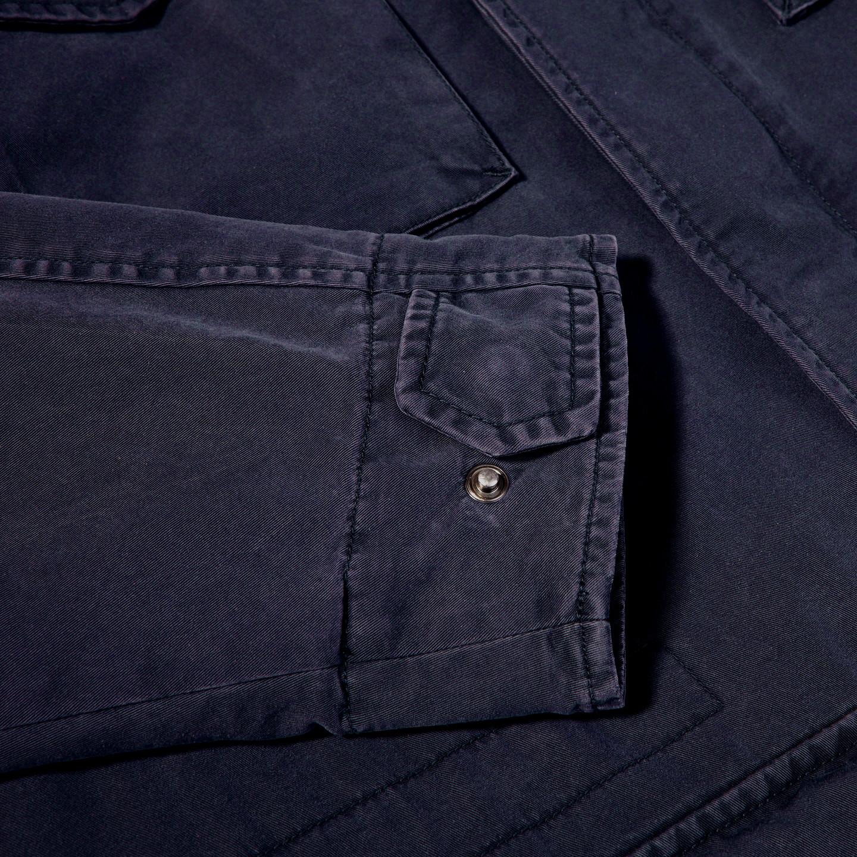 Herno Navy Washed Cotton Bogart Field Jacket Cuff
