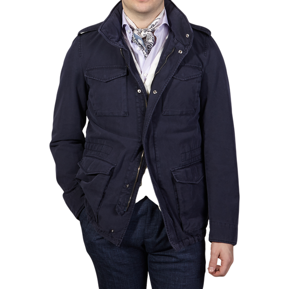 Herno Navy Washed Cotton Bogart Field Jacket Front