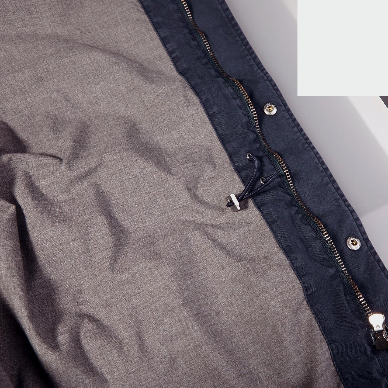 Herno Navy Washed Cotton Bogart Field Jacket Inside