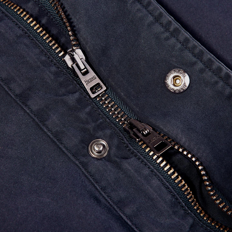 Herno Navy Washed Cotton Bogart Field Jacket Zipper