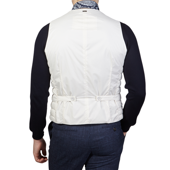 Herno Off White Technical Down Gilet Back