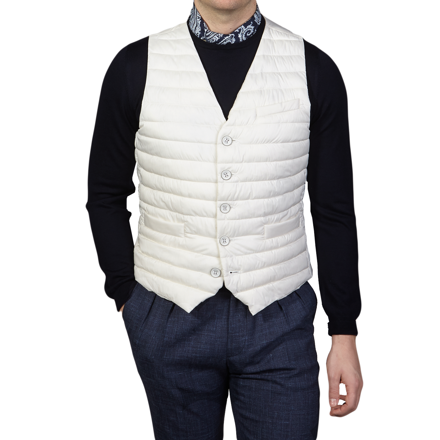 Herno Off White Technical Down Gilet Front