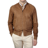 Herno Tan Suede Bomber Jacket Front