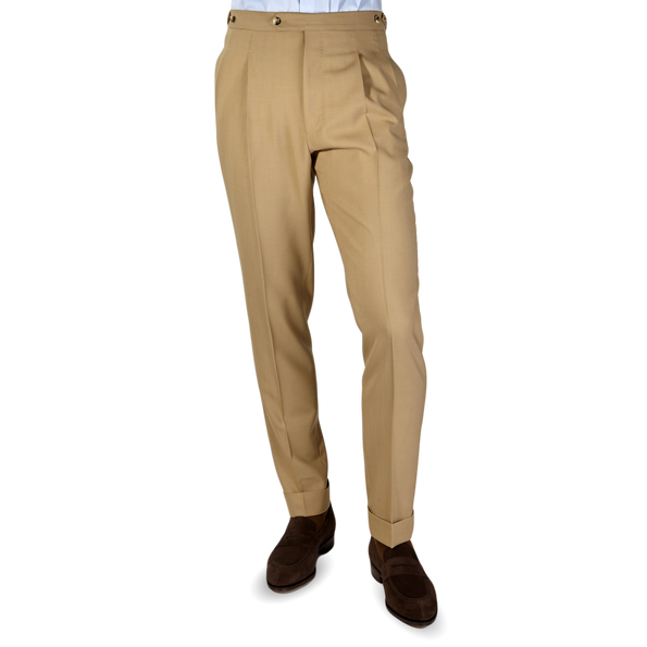 PT01 Beige Pleated Wool Draper Gentlemen Fit Trousers Front