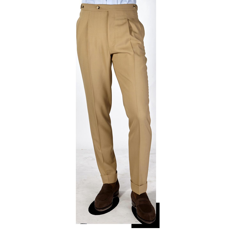 PT01 Beige Pleated Wool Draper Gentlemen Fit Trousers Front