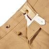 PT01 Beige Pleated Wool Draper Gentlemen Fit Trousers Zipper