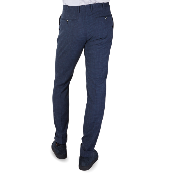 PT01 Blue Pleated Wool Linen Stretch Gentlemen Fit Trousers Back