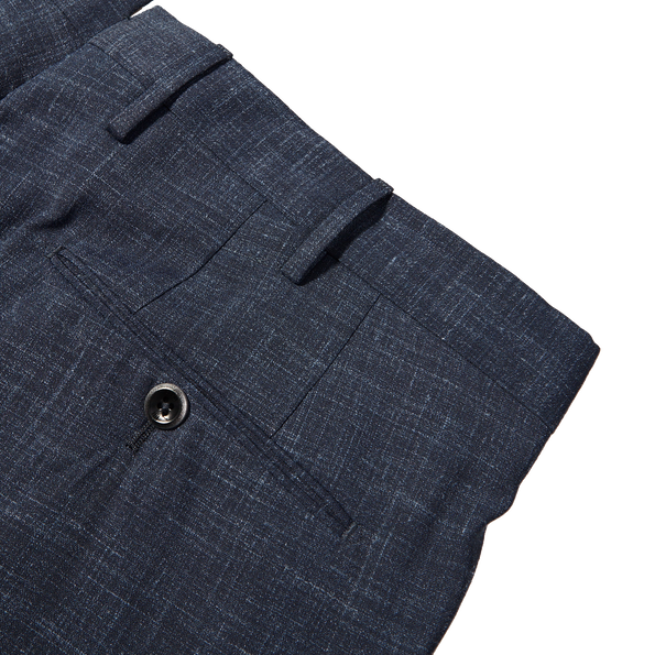 PT01 Blue Pleated Wool Linen Stretch Gentlemen Fit Trousers Pocket