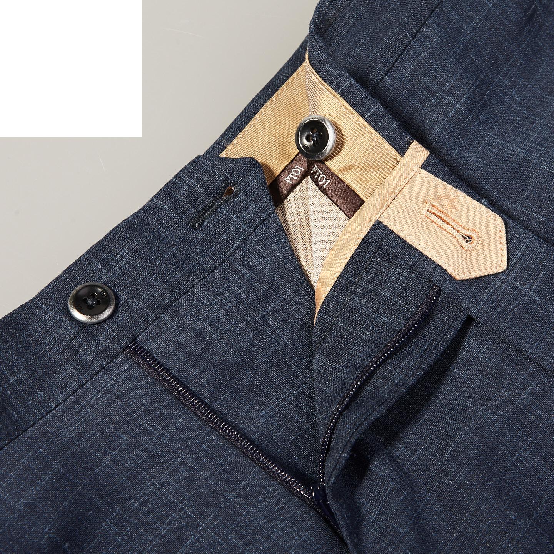 PT01 Blue Pleated Wool Linen Stretch Gentlemen Fit Trousers Zipper