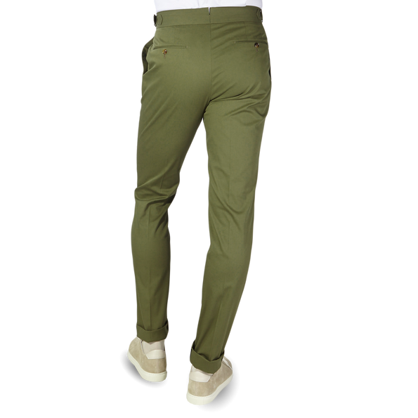 PT01 Green Pleated Cotton Stretch Gentlemen Fit Trousers Back