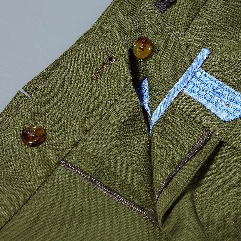 PT01 Green Pleated Cotton Stretch Gentlemen Fit Trousers Zipper