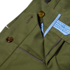 PT01 Green Pleated Cotton Stretch Gentlemen Fit Trousers Zipper