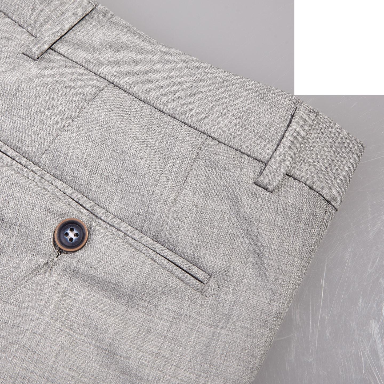 San Siro Grey Super 120s Wool Bogota Trousers Pocket