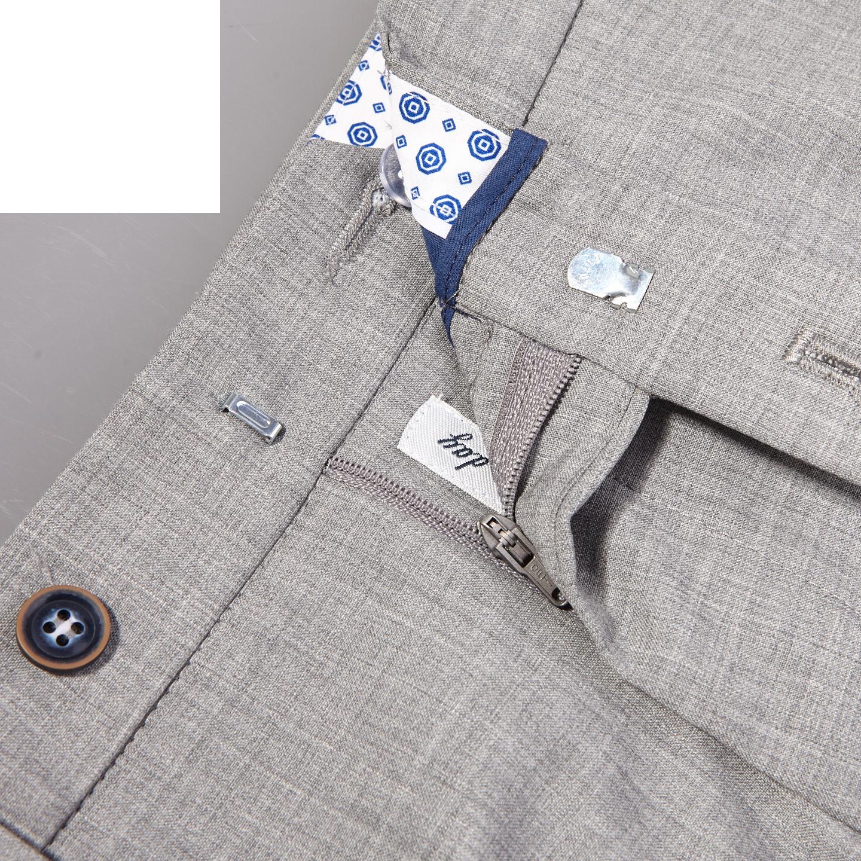 San Siro Grey Super 120s Wool Bogota Trousers Zipper