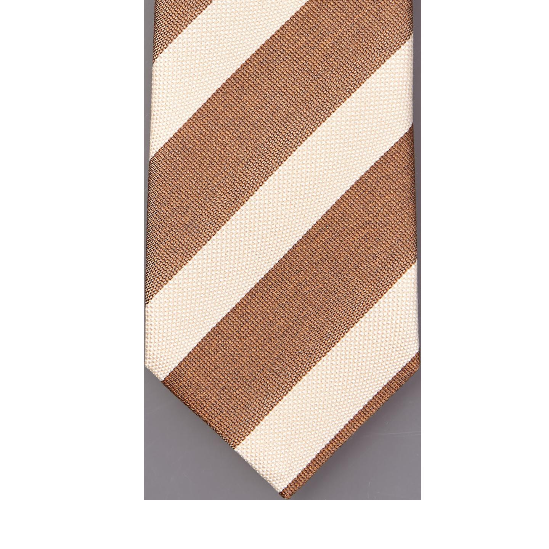 b0b7d4b195c8 Stenströms - Brown Cream Striped Silk Cotton Tie   Baltzar