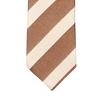 Stenströms Brown Cream Striped Silk Cotton Tie Tip
