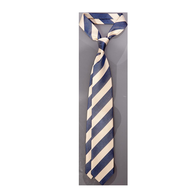 Stenströms Navy Cream Striped Silk Cotton Tie Feature