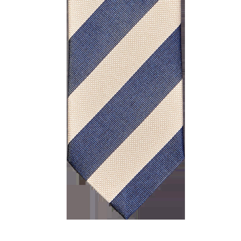 Stenströms Navy Cream Striped Silk Cotton Tie Tip