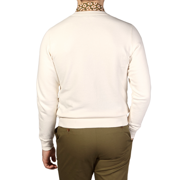 Sunspel Archive White Cotton Loopback Sweatshirt Back