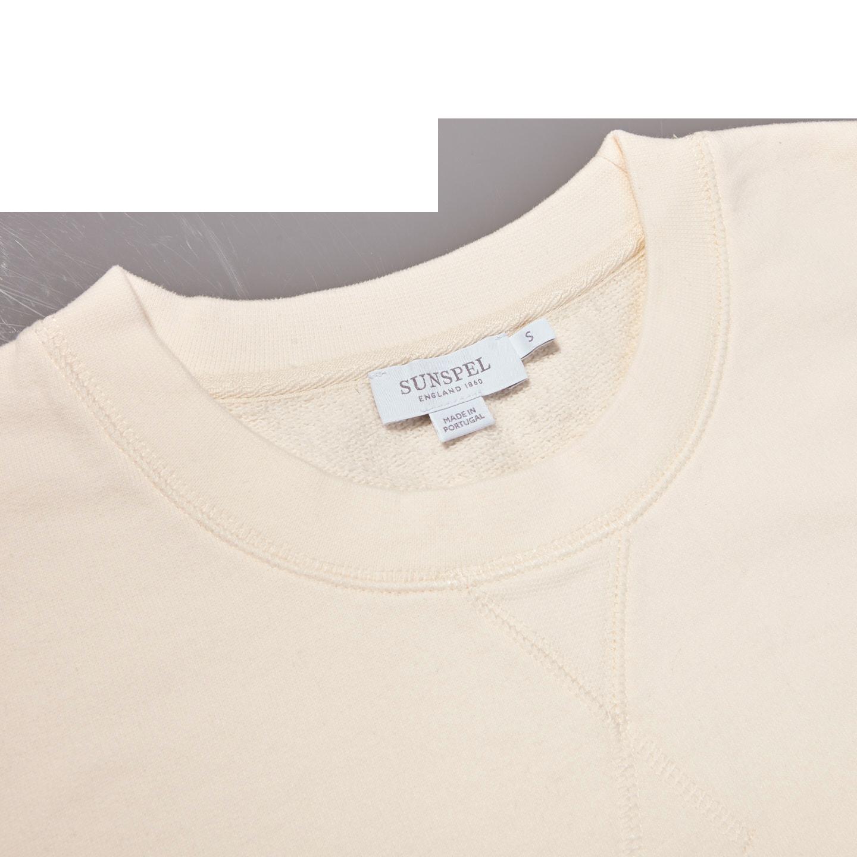 Sunspel Archive White Cotton Loopback Sweatshirt Collar