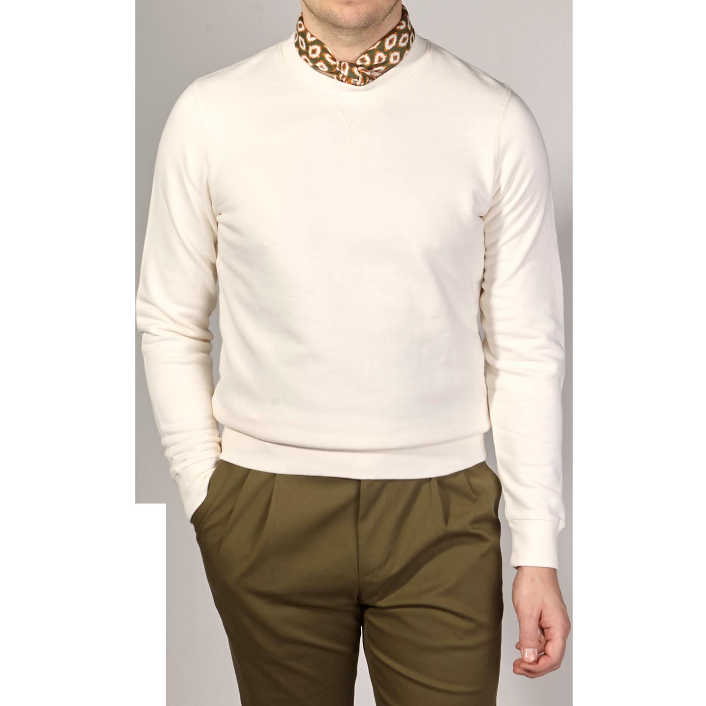Sunspel Archive White Cotton Loopback Sweatshirt Front