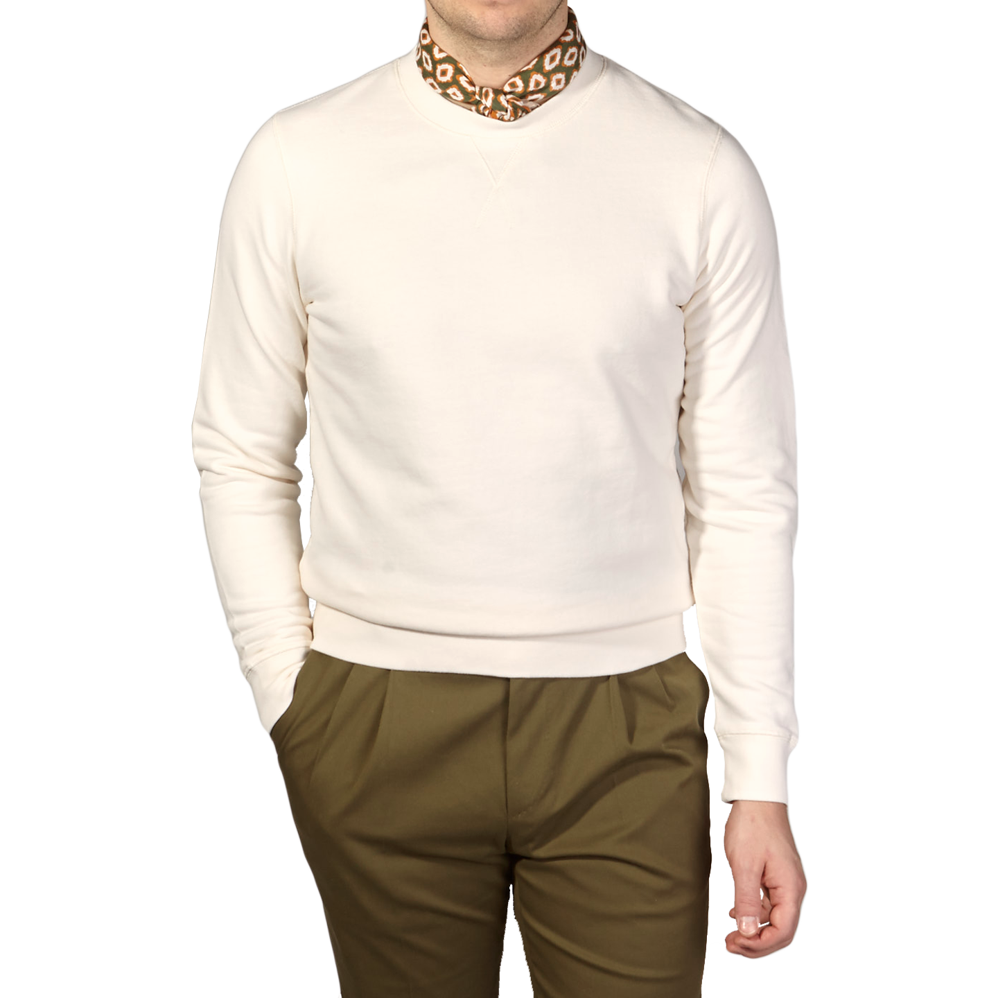 Sunspel Archive White Cotton Loopback Sweatshirt Front