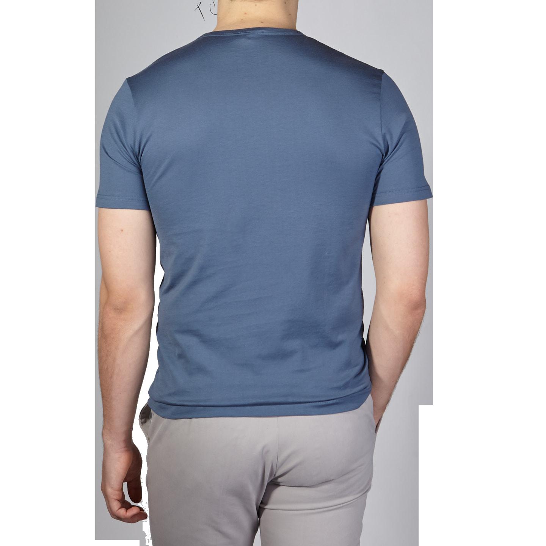 Sunspel Blue Slate Crew Neck T-Shirt Back