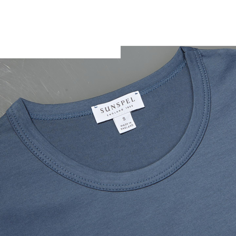 Sunspel Blue Slate Crew Neck T-Shirt Collar