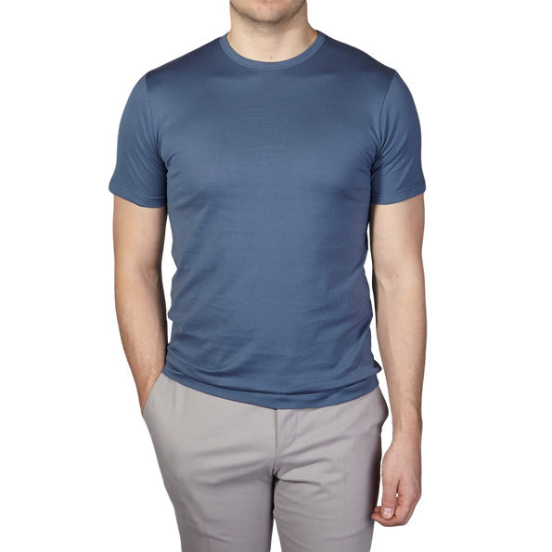 Sunspel Blue Slate Crew Neck T-Shirt Front