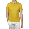 Sunspel Coreopsis Yellow Short Sleeve Rivera Polo Front