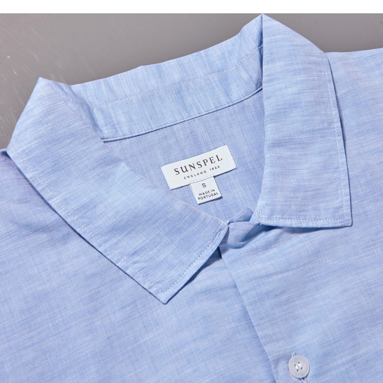 Sunspel Light Blue Linen Cotton Leisure Shirt Collar