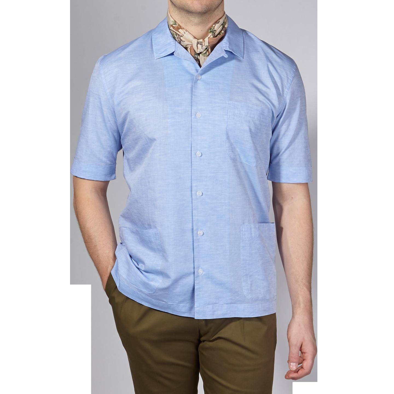 Sunspel Light Blue Linen Cotton Leisure Shirt Front