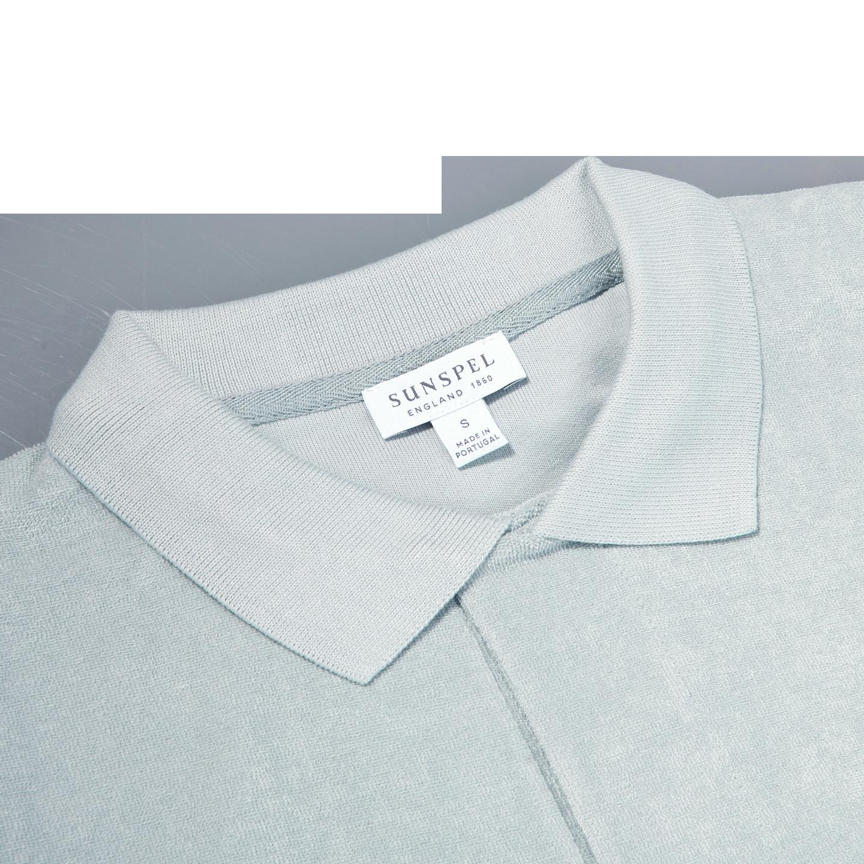 Sunspel Light Indigo Organic Cotton Toweling Polo Collar