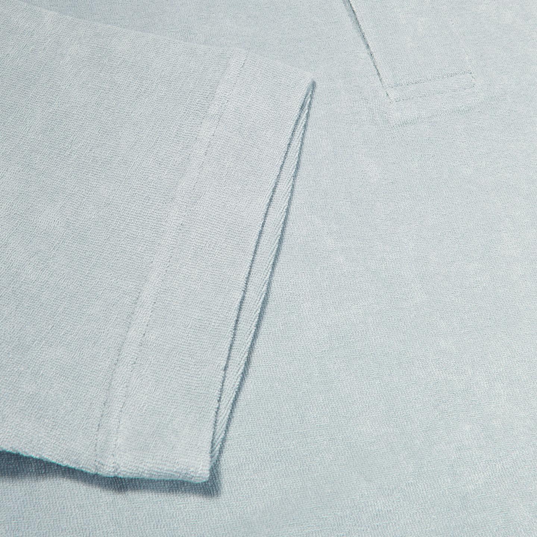 Sunspel Light Indigo Organic Cotton Toweling Polo Cuff