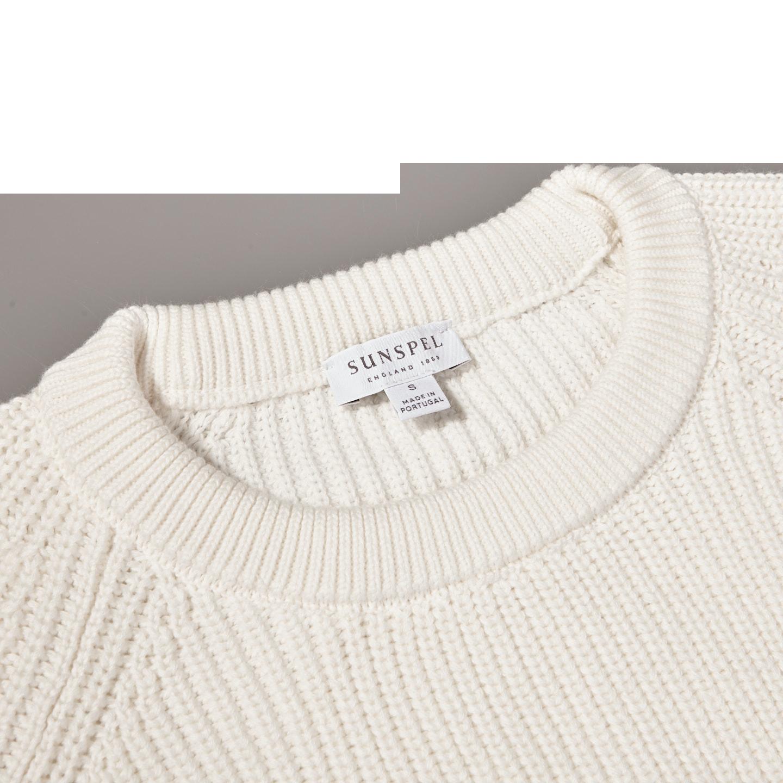 Sunspel Off White Rib Crew Neck Cotton Sweater Collar