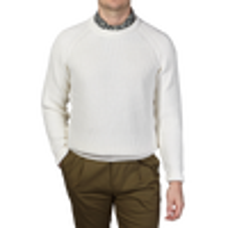 Sunspel Off White Rib Crew Neck Cotton Sweater Front